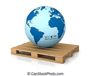 shipping everywhere - one world globe on a pallet; concept ...