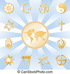 One World, Many Faiths - Gold symbols of 12 world religions...