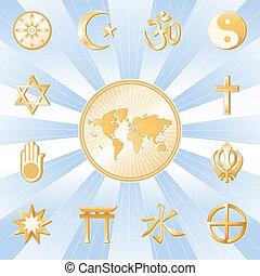 One World, Many Faiths - Gold symbols of 12 world religions ...