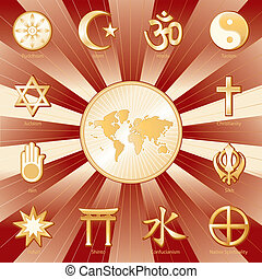 Gold symbols of 12 world religions with labels surrounding earth map: Buddhism, Islam, Hindu, Taoism, Christianity, Sikh, Native Spirituality, Confucian, Shinto, Baha'i, Jain, Judaism. Crimson and gold background. EPS8 compatible.