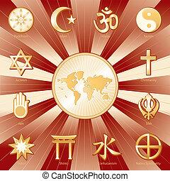 One World, Many Faiths - Gold symbols of 12 world religions...