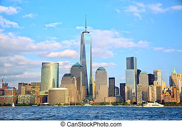 Lower Manhattan skyscrapers - One World Trade Center and...