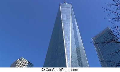 Low angle view of the One World Trade Center building in Manhattan, New York.