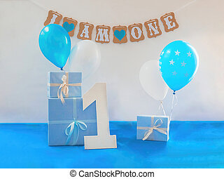 One year birthday decorations set
