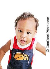 One year old adorable hispanic boy portrait