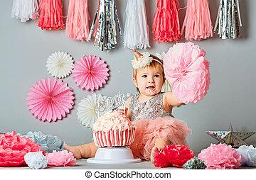 Fantastic Little Baby Girl Eating Birthday Cake During Cake Smash Party Funny Birthday Cards Online Necthendildamsfinfo