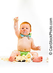 One Year Old Cake Smash - A baby boy gets to eat cake for...