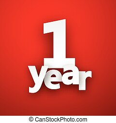 one year paper sign. - one year paper sign over red. Vector...