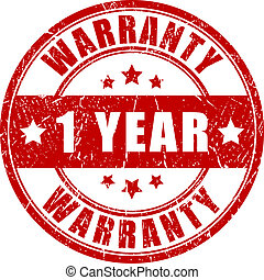 One year warranty stamp isolated on white