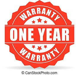 One year warranty vector icon on white background