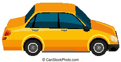 One yellow car on white background