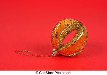 One yellow Christmas ball