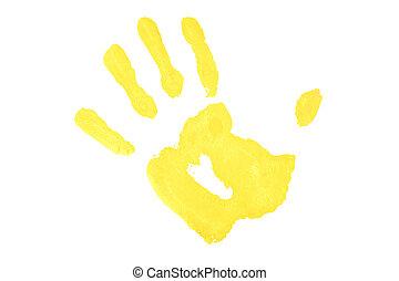 One yellow handprint