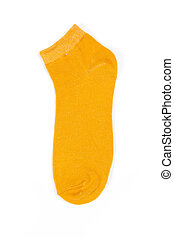 yellow short sock on a white background, top view