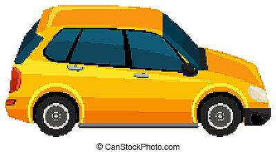 One yellow SUV car on white background