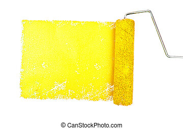 One yellow trace of painting against a white background