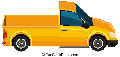 One yellow truck on white background