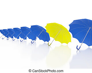 One Yellow Umbrella in Row of Blue Umbrellas