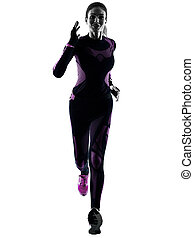 woman runner running jogger jogging isolated silhouette shadow