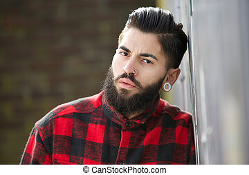 One young man with beard
