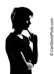 one young teenager boy or girl silhouette thinking - one...