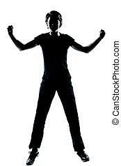 one young teenager boy or girl silhouette happy jumping screamin