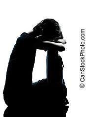 one young teenager girl crying sad silhouette - one...