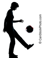 one young teenager girl silhouette juggling soccer football