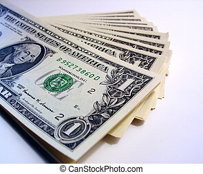 Ones - a pile of one dollar bills - US currency