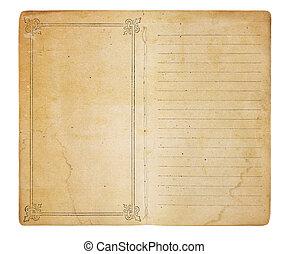 ongebruikt, ouderwetse , memorandum, boek