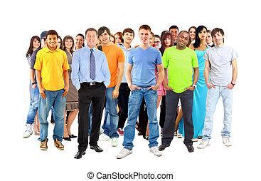 ongedwongen, groep, van, opgewekte, vrienden, met, armen op,...