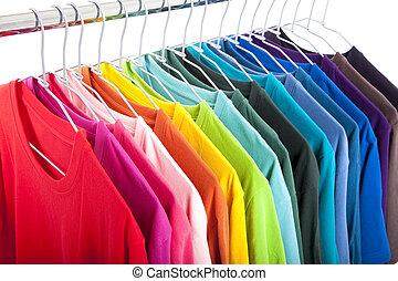 ongedwongen, hangers, overhemden, variëteit