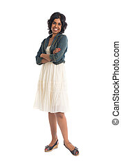 ongedwongen, indiër, vrouwlijk, met, rok