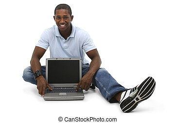 ongedwongen, man, draagbare computer