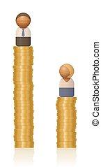 ongelijkheid, inkomen, man, arm, vrouw, rijk, geld, toren
