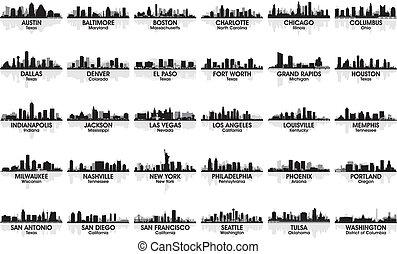 ongelofelijk, set, van, usa, stad, skyline., 30, cities.
