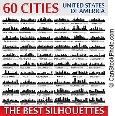 ongelofelijk, stad skyline, silhouettes, set., verenigde staten, van, ameri
