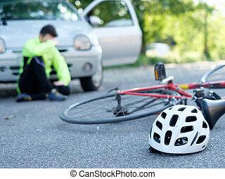 ongeluk, fiets, asfalt, na, het pijn doen, man