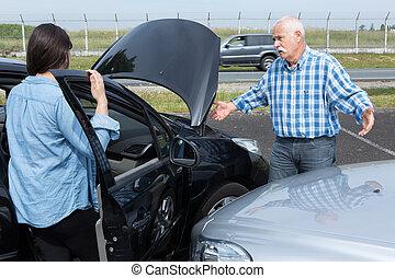 ongeluk, geredeneer, bestuurders, na, twee, verkeer