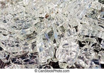 ongeluk, kapot, auto, glas, groot, kristallen