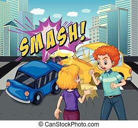 ongeluk, scène, met, botsing auto
