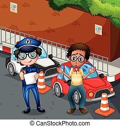 ongeluk, scène, politieagent