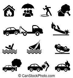 ongeluk, set, verzekering, pictogram