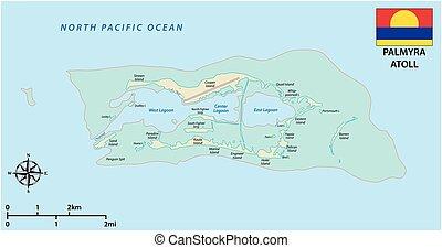 ongeorganiseerd, verenigde staten, atol, kaart, vlag,...