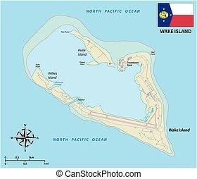 ongeorganiseerd, verenigde staten, atol, waken, kaart, vlag,...