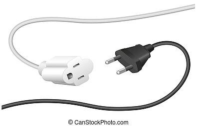 ongepast, stekker, uitbreiding, kabel