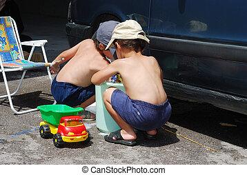 ongeveer, auto, kinderen, poetsen, summertime, spelend