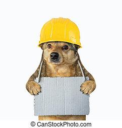 ongeveer, dog, zijn, meldingsbord, leeg, hals