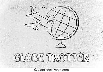 ongeveer, globe, vliegen, industry:, vliegtuig, reizen