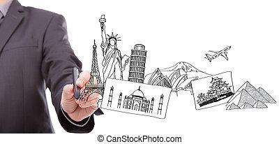 ongeveer, handel reis, wereld, droom, tekening, man